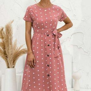 NWOT XL pink polka dot A-line midi dress